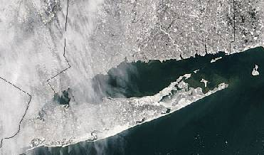 A satellite image of New York under snow